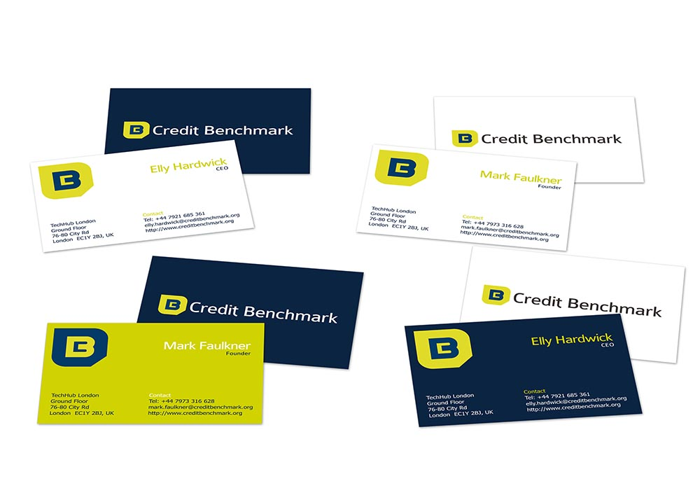 CreditBenchmark business card mocks, branding, Form Advertising, Credit Benchmark