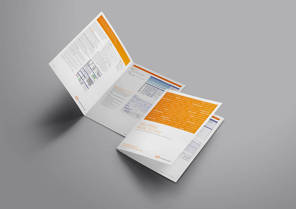 Thomson Reuters Brochure, brochure, Thomson Reuters, collateral design, branding, advertising, Form Advertising
