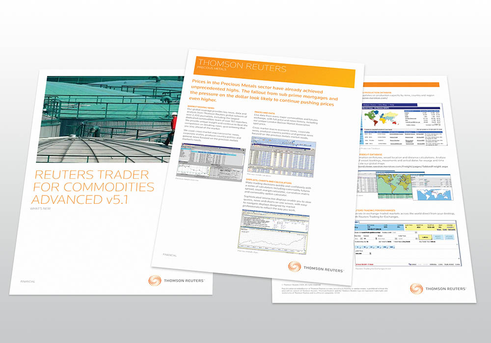 Thomson Reuters factsheets, factsheet, Thomson Reuters, collateral design, branding, advertising, Form Advertising