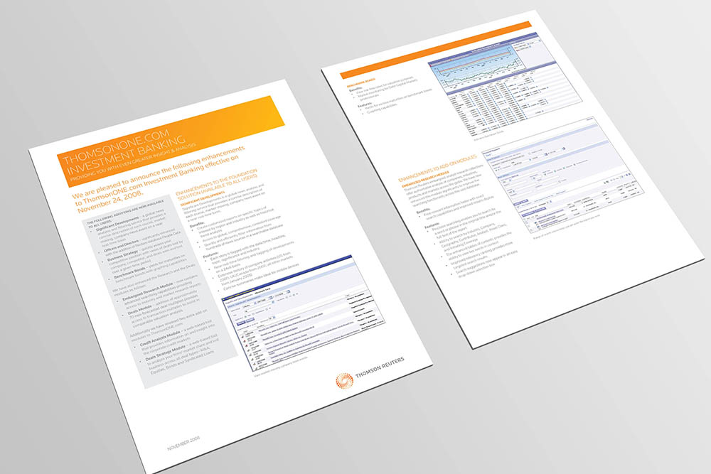 ThomsonReuters collateral 1, Thomson Reuters, collateral design, branding, advertising, Form Advertising