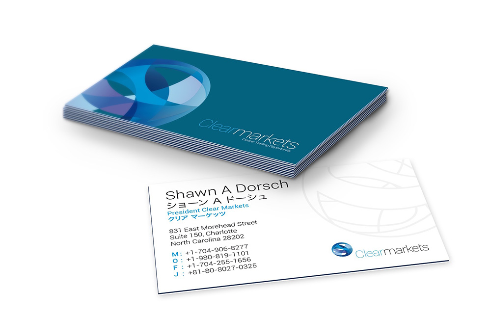 clearmarkets brand stationery, business card, logo, Clear Markets, new brand identity, Form Advertising, brand creation,