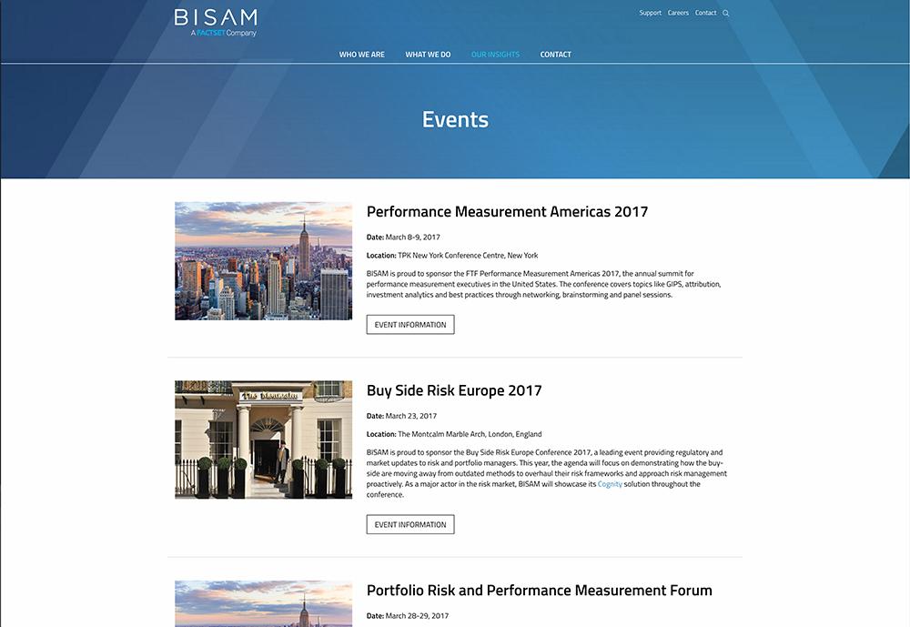 BISAM Website Design - Events