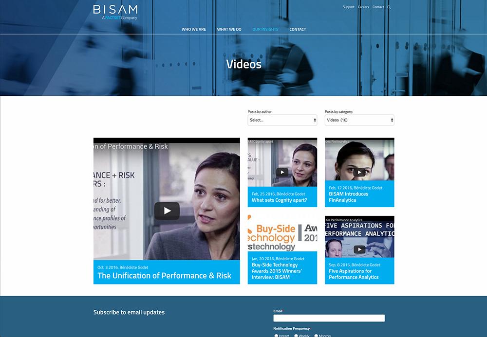 BISAM website Design - Video Blog